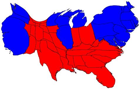 density equalizing cartograms us 2004 election standard election map full size 464 x 291